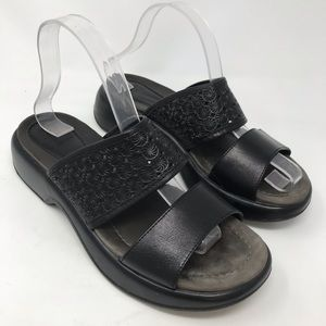 Dansko Women Lana Slides Sandals Black Leather 40